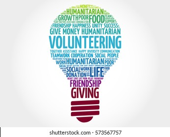 Volunteering bulb word cloud collage concept
