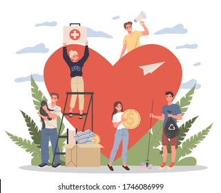 Volunteers illustration. Young people packing donation box with money, collecting garbage, taking care about animals near heart. Support community for social aid, charity, help concept