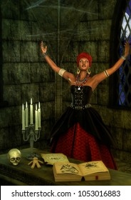 Voodoo queen in trance in front of a witchcraft altar. 3D Illustration.