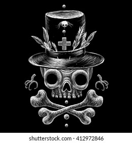 Voodoo Skull with voodoo symbols