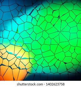 Voronoi cells green vibrant color geometric surface, 3D rendering