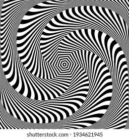 Vortex circular rotation movement illusion in abstract op art design.