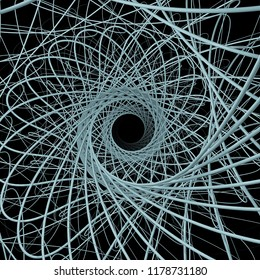 Vortex in Square. 3D rendering of rotating lines spinning around center