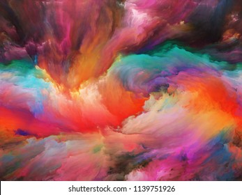 Vortex Twist and Swirl series. Composition of color and movement on canvas with metaphorical relationship to art, creativity and imagination
