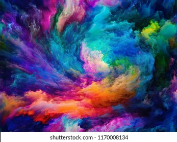 Vortex Twist and Swirl series. Creative arrangement of color and movement on canvas as a concept metaphor on subject of art, creativity and imagination