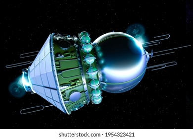 The Vostok spacecraft orbits the Earth. Man's first flight in low earth orbit. Inside the capsule was a cosmonaut. 3d render