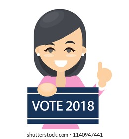 Vote in 2018. New election. Woman with board