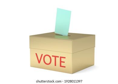 Vote box isolated on white background 3D illustration.