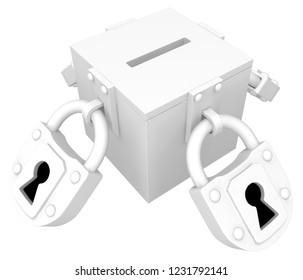 Vote box locked symbolic white, heavy big padlocks sealed, 3d illustration, horizontal, isolated