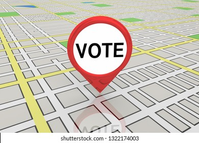 Vote Election Precinct District Polling Map Pin 3d Illustration