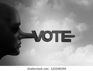 Vote fraud and voter rigging or electoral crime with illegal ballots from an election and voting recount symbol as corruption at the polls as political suppression with 3D illustration elements.