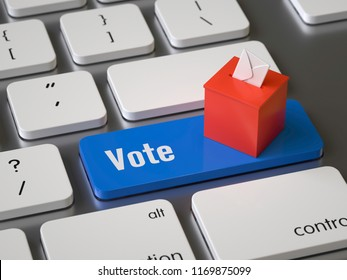 vote key on the keyboard, 3d rendering,conceptual image
