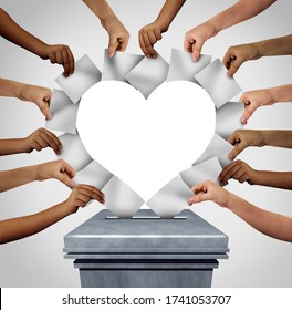 Vote love and voting diversity concept and diverse hands casting ballots shaped as a heart at a polling station as a democratic right with hands holding blank paper with 3D illustration elements.