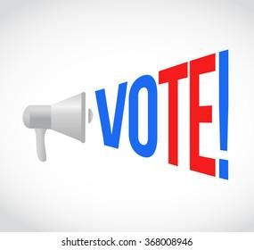 vote megaphone message at loud. concept illustration design