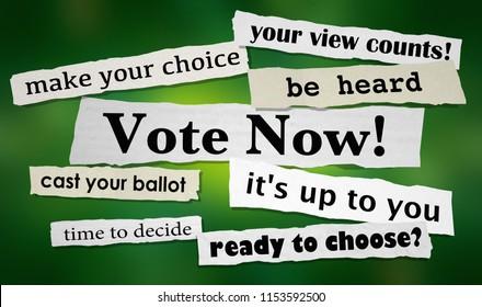 Vote Now Election Democracy Choice News Headlines 3d Illustration