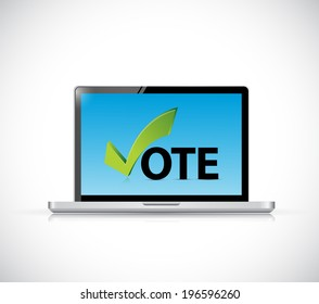 vote online computer concept illustration design over a white background