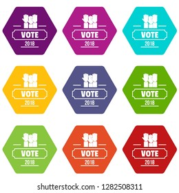 Vote registration icons 9 set coloful isolated on white for web
