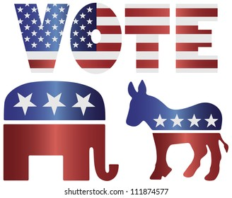 Vote Republican Elephant and Democrat Donkey with American USA Flag Silhouette Raster Vector Illustration