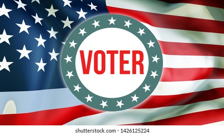 Voter election on a USA background, 3D rendering. United States of America flag waving in the wind. Voting, Freedom Democracy, Voter concept. US Presidential election banner