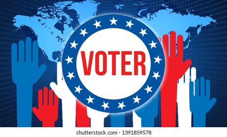 Voter election on a World background, 3D rendering. World country map as political background concept. Voting, Freedom Democracy, Voter concept. Voter and Presidential election banner