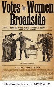 Votes for Women, policeman holding back Woman with baby and Woman in academic robes to allow ex-convicts in stripped uniforms vote. Created by Women's Political Union, New York City, January 28, 1911.