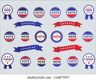 Voting Badges and Stickers for Elections in USA red, white and blue