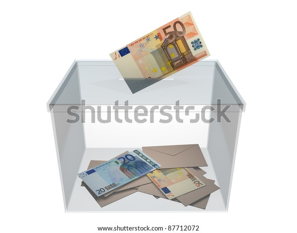 Voting in a ballot box  with an euro banknote. Concept of politics corruption.