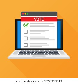 Voting online concept. Voting ballot box on a laptop screen. Flat  stock illustration.