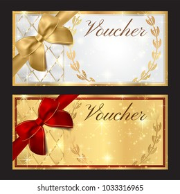Voucher, Gift certificate, Coupon, Holiday reward card design. White and gold background design with red bow (ribbon)  for ticket, money design, check (cheque). Blank jpeg template