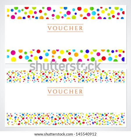 voucher gift certificate template colorful bright stock illustration