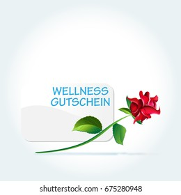 voucher with a rose and the word: wellness gutschein, what means: wellness credit