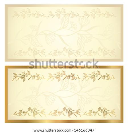 voucher template floral pattern border background stock illustration