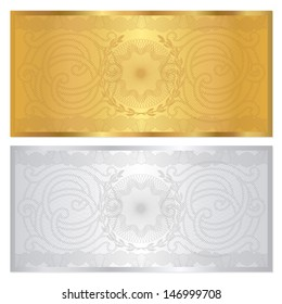 Voucher template with guilloche pattern (watermark) and border. Background design for gift voucher, coupon, banknote, certificate, currency, check (cheque). Golden, silver colors. Vector in portfolio