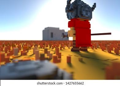 Voxel, 3d, game, armor, landscape, soldier