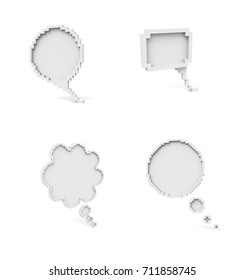 Voxel Low Poly Speech Bubble Icons - Blank Empty Speech Bubble Concept -  Isometric  3D Pixel Art for Design Project
