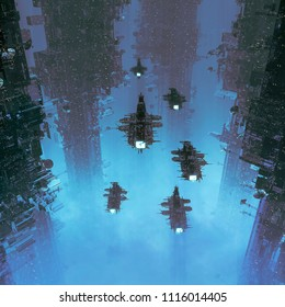 The voyage home / 3D illustration of spaceships flying through dark futuristic city shrouded in clouds