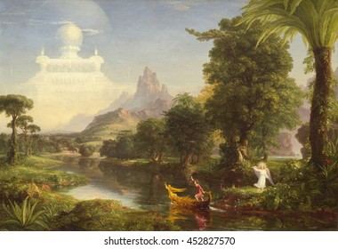 The Voyage of Life: Childhood, by Thomas Cole, 1842, oil on canvas, American painting, oil on canvas. First of four paintings, 'The Voyage of Life' traces a man's journey along the 'River of Life.' A