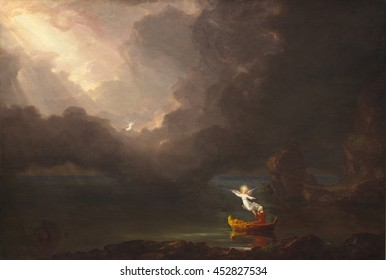 The Voyage of Life: Old Age, by Thomas Cole, 1842, oil on canvas, American painting, oil on canvas. Fourth of four paintings, 'The Voyage of Life' traces a man's journey along the 'River of Life.' Th