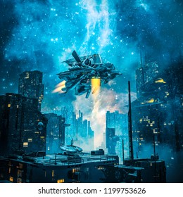 Voyager by night / 3D illustration of spaceship taking off from dark futuristic city under a glowing galaxy