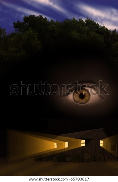Voyeurism or stalking concept photograph with one eye watching home at night from the sky.