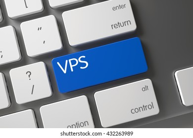 VPS on Slim Aluminum Keyboard Background. Concept of VPS, with VPS on Blue Enter Key on Laptop Keyboard. Button VPS on Computer Keyboard. VPS Keypad. 3D Illustration.