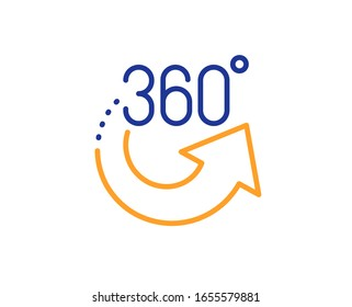 VR simulation sign. 360 degrees line icon. Panoramic view symbol. Colorful outline concept. Blue and orange thin line 360 degrees icon.