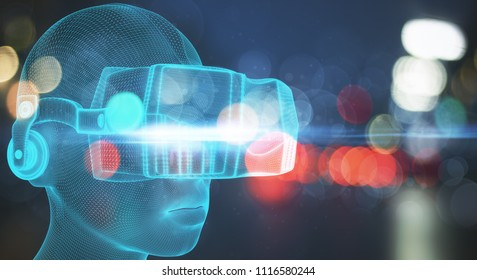 VR and video concept. Abstract Virtual Reality glasses on blurry background. 3D Rendering