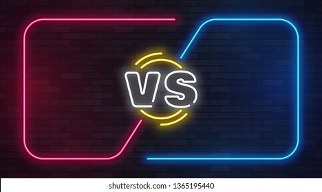 Vs neon. Versus battle game banner with neon empty frames. Boxing match duel, slag competition business confrontation illustration