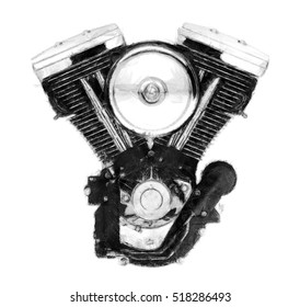 V-twin motorcycle engine pencil sketch