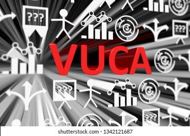 VUCA concept blurred background 3d render illustration