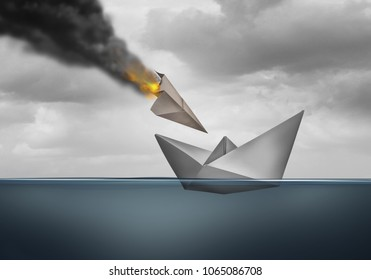 Vulnerability concept and vulnerable business hazard as an attack on a defenseless ship with 3D illustration elements.
