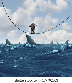 Vulnerable business as an overweight unfit businessman walking on a sinking high wire with sharks ready to attack as a metaphor for financial vulnerability in a competitive economic environment.