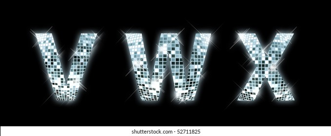 V,W,X - font made from a disco ball