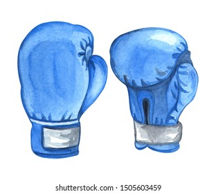 Waatercolor illustration of pair blue boxing gloves isolated on white background. Hand drawn sketch